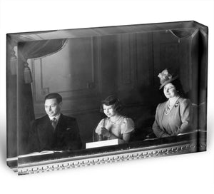 Queen Elizabeth II with her parents entranced viewing the stage Acrylic Block - Canvas Art Rocks - 1