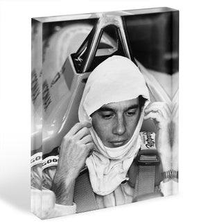 Racing driver Ayrton Senna at Silverstone Acrylic Block - Canvas Art Rocks - 1