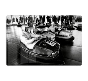 Racing drivers on the dodgems HD Metal Print