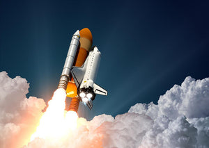 Realistic 3d Scene Of Space Shuttle Wall Mural Wallpaper - Canvas Art Rocks - 1