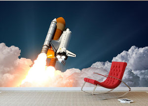 Realistic 3d Scene Of Space Shuttle Wall Mural Wallpaper - Canvas Art Rocks - 2