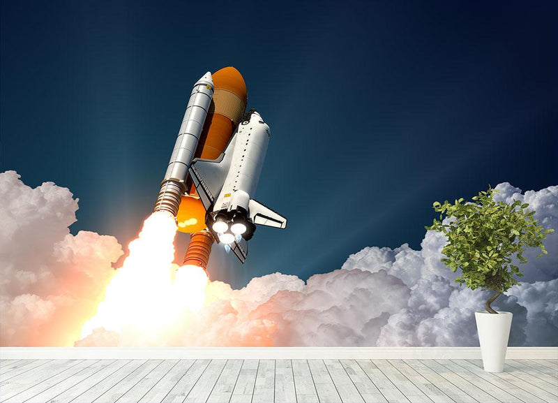 Realistic 3d Scene Of Space Shuttle Wall Mural Wallpaper - Canvas Art Rocks - 4