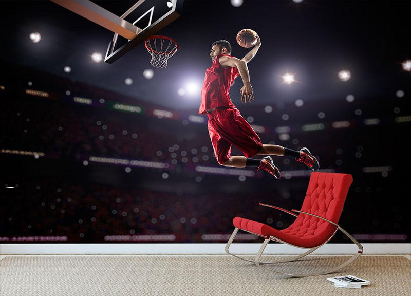 Red Basketball player in action Wall Mural Wallpaper