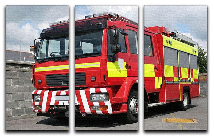 Red British fire engine 3 Split Panel Canvas Print