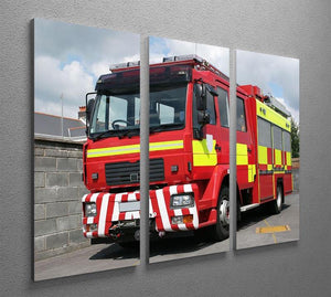 Red British fire engine 3 Split Panel Canvas Print - Canvas Art Rocks - 2