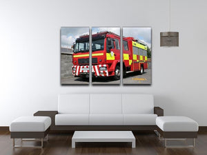 Red British fire engine 3 Split Panel Canvas Print - Canvas Art Rocks - 3