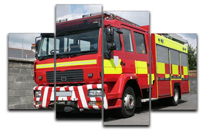 Red British fire engine 4 Split Panel Canvas  - Canvas Art Rocks - 1