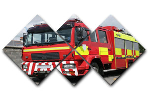 Red British fire engine 4 Square Multi Panel Canvas  - Canvas Art Rocks - 1