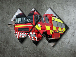 Red British fire engine 4 Square Multi Panel Canvas  - Canvas Art Rocks - 2