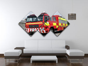 Red British fire engine 4 Square Multi Panel Canvas  - Canvas Art Rocks - 3
