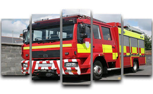 Red British fire engine 5 Split Panel Canvas  - Canvas Art Rocks - 1