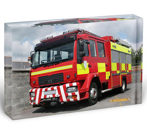 Red British fire engine Acrylic Block - Canvas Art Rocks - 1