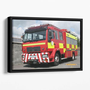 Red British fire engine Floating Framed Canvas
