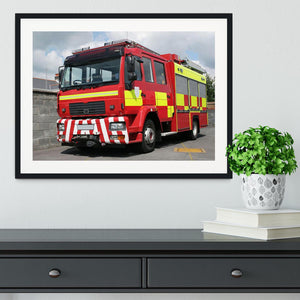 Red British fire engine Framed Print - Canvas Art Rocks - 1