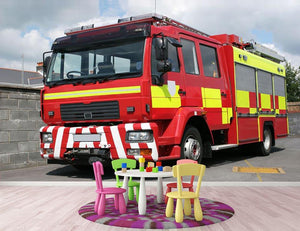 Red British fire engine Wall Mural Wallpaper - Canvas Art Rocks - 3