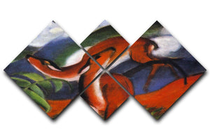 Red Deer II by Franz Marc 4 Square Multi Panel Canvas  - Canvas Art Rocks - 1