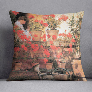 Red Geraniums by Hassam Cushion - Canvas Art Rocks - 1