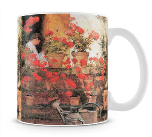 Red Geraniums by Hassam Mug - Canvas Art Rocks - 1