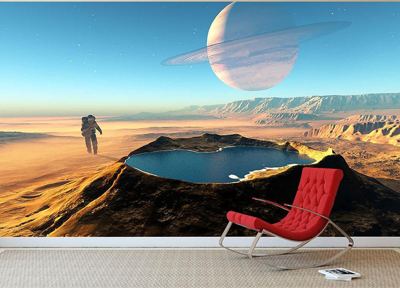 Red Planet Mars Space Walk Wall Mural Wallpaper - Canvas Art Rocks - 2