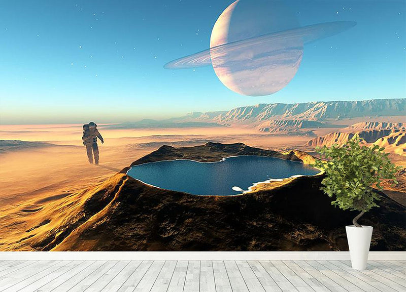Red Planet Mars Space Walk Wall Mural Wallpaper - Canvas Art Rocks - 4