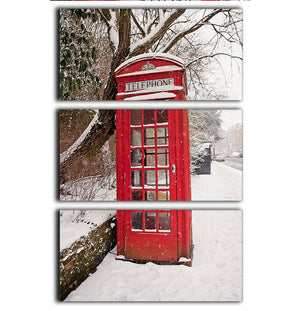 Red Telephone Box in the Snow 3 Split Panel Canvas Print - Canvas Art Rocks - 1