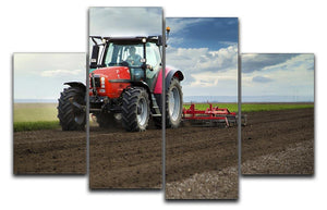 Red Tractor 4 Split Panel Canvas  - Canvas Art Rocks - 1