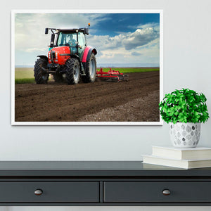 Red Tractor Framed Print - Canvas Art Rocks -6