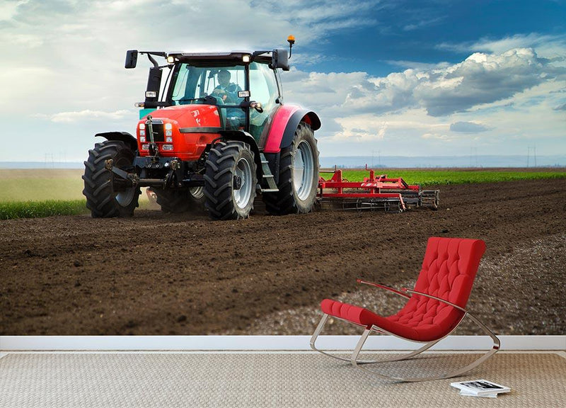 Red Tractor Wall Mural Wallpaper - Canvas Art Rocks - 1