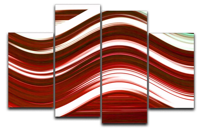 Red Wave 4 Split Panel Canvas