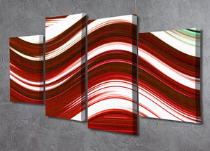 Red Wave 4 Split Panel Canvas - Canvas Art Rocks - 2