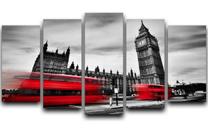 Red buses in motion and Big Ben 5 Split Panel Canvas  - Canvas Art Rocks - 1