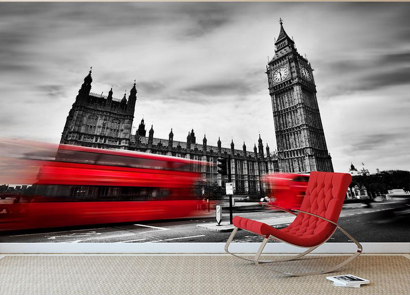 Red buses in motion and Big Ben Wall Mural Wallpaper - Canvas Art Rocks - 1