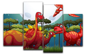 Red dinosuars under full moon 4 Split Panel Canvas  - Canvas Art Rocks - 1