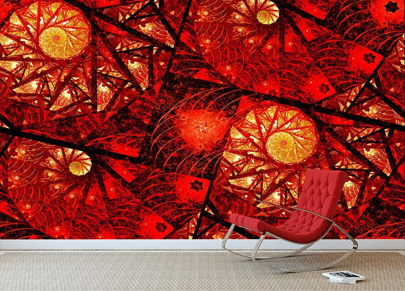 Red fiery glowing spiral Wall Mural Wallpaper - Canvas Art Rocks - 1