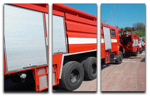 Red fire engine standing on the road 3 Split Panel Canvas Print - Canvas Art Rocks - 1