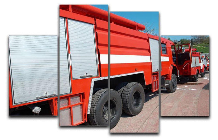 Red fire engine standing on the road 4 Split Panel Canvas