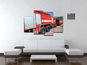 Red fire engine standing on the road 4 Split Panel Canvas  - Canvas Art Rocks - 3