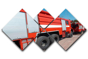 Red fire engine standing on the road 4 Square Multi Panel Canvas  - Canvas Art Rocks - 1