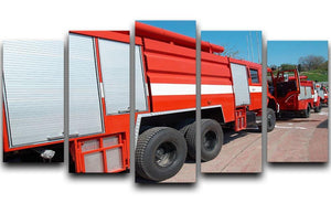 Red fire engine standing on the road 5 Split Panel Canvas  - Canvas Art Rocks - 1