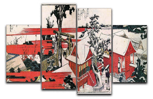 Red houses by Hokusai 4 Split Panel Canvas  - Canvas Art Rocks - 1