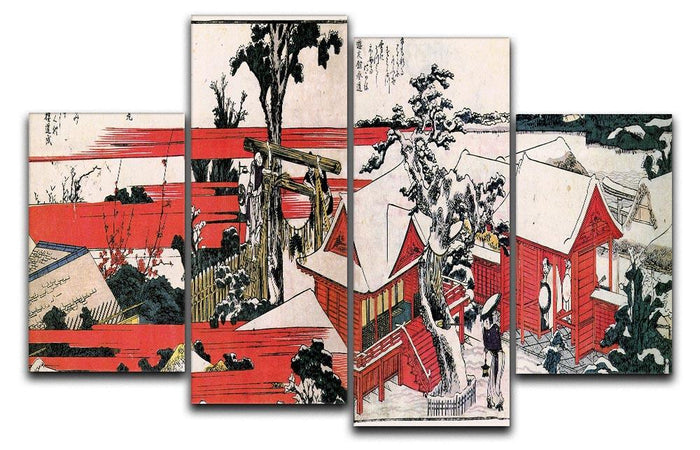 Red houses by Hokusai 4 Split Panel Canvas