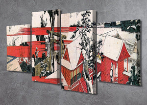 Red houses by Hokusai 4 Split Panel Canvas - Canvas Art Rocks - 2