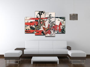 Red houses by Hokusai 4 Split Panel Canvas - Canvas Art Rocks - 3