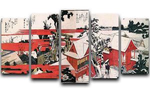 Red houses by Hokusai 5 Split Panel Canvas  - Canvas Art Rocks - 1