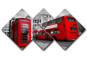 Red phone booth and red bus 4 Square Multi Panel Canvas  - Canvas Art Rocks - 1