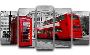 Red phone booth and red bus 5 Split Panel Canvas  - Canvas Art Rocks - 1