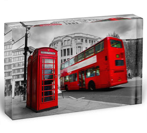Red phone booth and red bus Acrylic Block - Canvas Art Rocks - 1