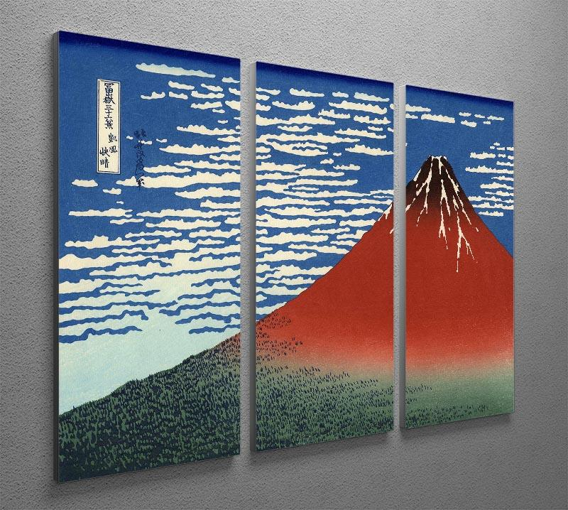 Red southern wind on Fiji on a clear morning by Hokusai 3 Split Panel Canvas Print - Canvas Art Rocks - 2