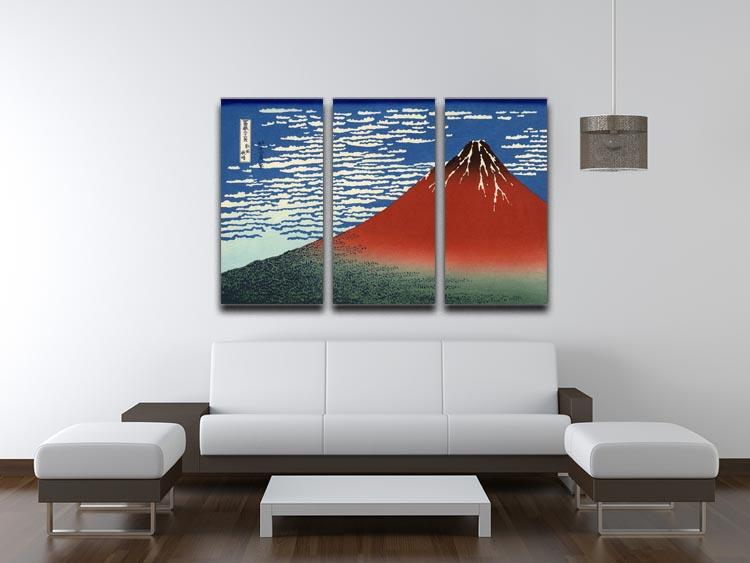 Red southern wind on Fiji on a clear morning by Hokusai 3 Split Panel Canvas Print - Canvas Art Rocks - 3