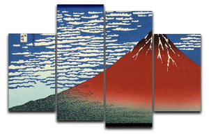 Red southern wind on Fiji on a clear morning by Hokusai 4 Split Panel Canvas  - Canvas Art Rocks - 1